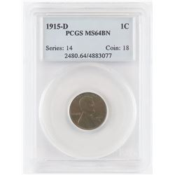 1915 D Lincoln Wheat Cent. PCGS Certified MS64BN.
