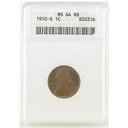 1910 S Lincoln Wheat Cent. ANACS Certified MS64RB.