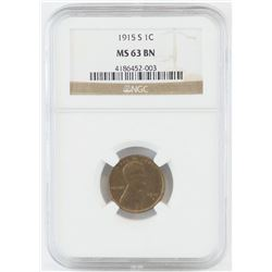 1915 S Lincoln Wheat Cent. NGC Certified MS63BN.