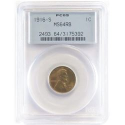 1916 S Lincoln Wheat Cent. PCGS Certified MS64RB.