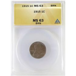 1915 Lincoln Wheat Cent. ANACS Certified MS63BRN.