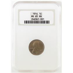 1914 Lincoln Wheat Cent. NGC Certified MS65RB.