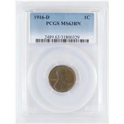 1916 D Lincoln Wheat Cent. PCGS Certified MS63BN.