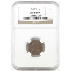 1920 S Lincoln Wheat Cent. NGC Certified MS64BN.