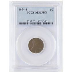 1924 S Lincoln Wheat Cent. PCGS Certified MS63BN.