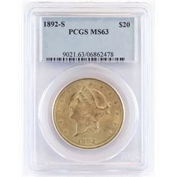 1892 S $20 Liberty Gold. PCGS Certified MS63.