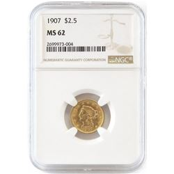 1907 $2.50 Liberty Gold. NGC Certified MS62.