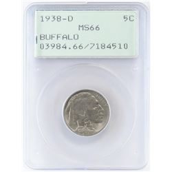 1938 D Buffalo Nickel. PCGS Certified MS66.