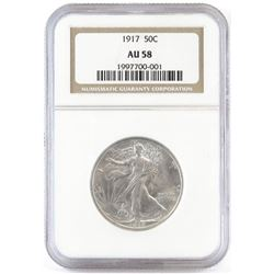 1917 Walking Liberty Half Dollar. NGC Certified AU58.