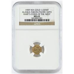 1909 WA Gold 1/2 DWT. Alaska-Yukon-Pacific Expo - Hart's Coins of the West. NGC Certified MS62.