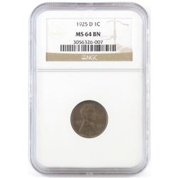 1925 D Lincoln Wheat Cent. NGC Certified MS64BN.