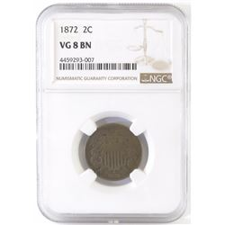 1872 Two Cent Piece. NGC Certified VG8BN.
