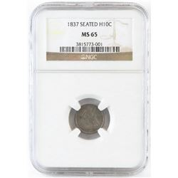 1837 Seated Liberty Half Dime. NGC Certified MS65.