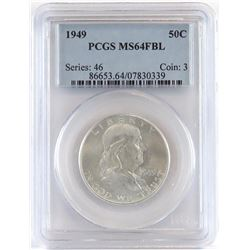 Lot of (2) PCGS Certified Franklin Half Dollars includes 1949 MS64FBL  1949 D MS64FBL.