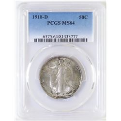1918 D Walking Liberty Half Dollar. PCGS Certified MS64.