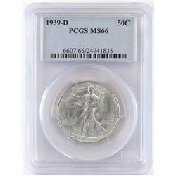 1939 D Walking Liberty Half Dollar. PCGS Certified MS66.