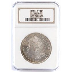 1881 S Morgan Dollar. NGC Certified MS67.