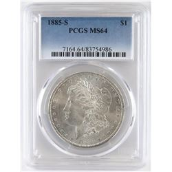 1885 S Morgan Dollar. PCGS Certified MS64.