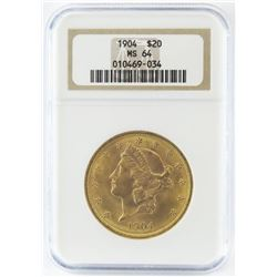 1904 $20 Liberty Gold. NGC Certified MS64.