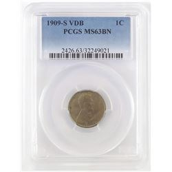 1909 S V.D.B. Lincoln Wheat Cent. PCGS Certified MS63BN.