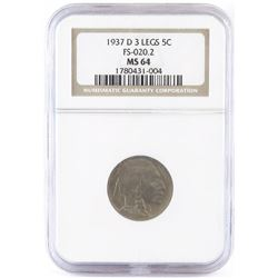 1937 D (3-Legged) Buffalo Nickel - FS-020.2. NGC Certified MS64.