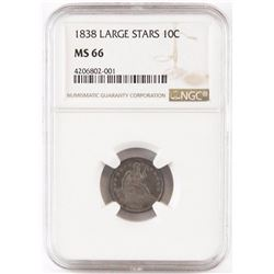 1838 Seated Liberty Dime - Large Stars. NGC Certified MS66.