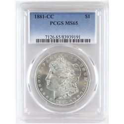 1881 CC Morgan Dollar. PCGS Certified MS65.