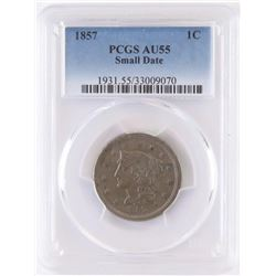1857 Braided Hair Large Cent. PCGS Certified AU55.