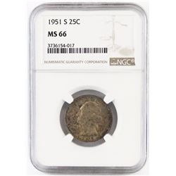 1951 S Washington Quarter. NGC Certified MS66.