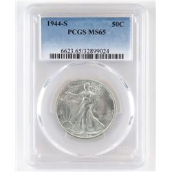 1944 S Walking Liberty Half Dollar. PCGS Certified MS65.