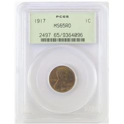 1917 Lincoln Wheat Cent. PCGS Certified MS65RD.