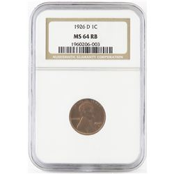 1926 D Lincoln Wheat Cent. NGC Certified MS64RB.