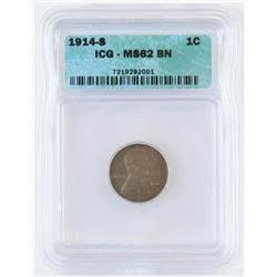 1914 S Lincoln Wheat Cent. ICG Certified MS62BN.