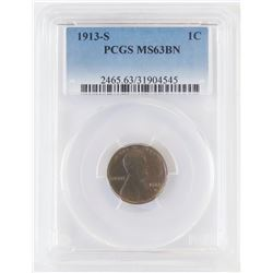 1913 S Lincoln Wheat Cent. PCGS Certified MS63BN.