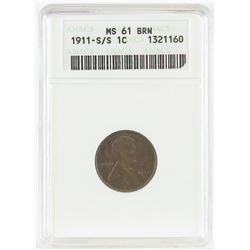 1911 S/S Lincoln Wheat Cent. ANACS Certified MS61BRN.