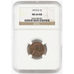 1919 D Lincoln Wheat Cent. NGC Certified MS64RB.