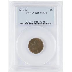 1917 S Lincoln What Cent. PCGS Certified MS64BN.