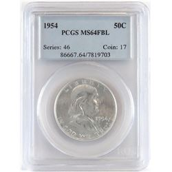Lot of (3) PCGS Certified Franklin Half Dollars includes 1954 MS64FBL, 1954 D MS64FBL  1954 S MS64F