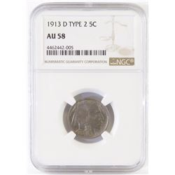 1913 D Ty.2 Buffalo Nickel. NGC Certified AU58.