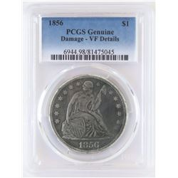 1856 Seated Liberty Dollar. PCGS Certified VF Details - genuine - damage.