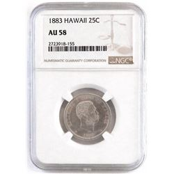 1883 Hawaii Quarter. NGC Certified AU58.