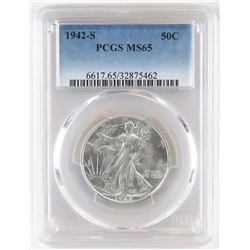 1942 S Walking Liberty Half Dollar. PCGS Certified MS65.
