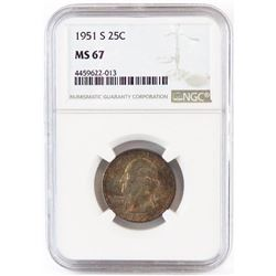 1951 S Washington Quarter. NGC Certified MS67.