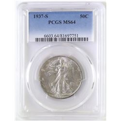 1937 S Walking Liberty Half Dollar. PCGS Certified MS64.