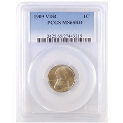1909 V.D.B. Lincoln Wheat Cent. PCGS Certified MS65RD.