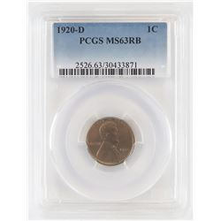 1920 D Lincoln Wheat Cent. PCGS Certified MS63RB.