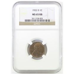 1922 D Lincoln Wheat Cent. NGC Certified MS65RB.
