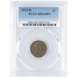 1913 D Lincoln Wheat Cent. PCGS Certified MS64BN.