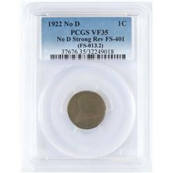 1922 No D Lincoln Wheat Cent - No D Strong Reverse FS-401. PCGS Certified VF35.