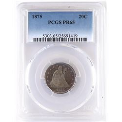 Proof: 1875 Twenty Cent Piece. PCGS Certified PR65.
